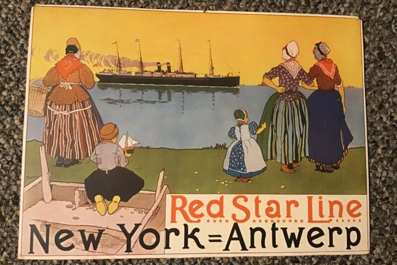 Red Star Line Ship New York Antwerp Original Window Card Sign Ocean Liner
