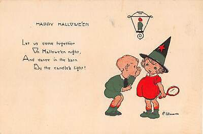 c.1920 Boy Inviting Girl Witch To Party Halloween post card](Post Halloween Party)