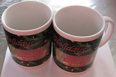 2 Stück Design-Kaffeebecher mit Werbung * Happy Holidays Holiday Becher