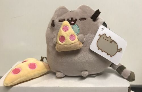 """Gund Stuffed Pusheen Cat 6"""" Eating Pizza With Pizza Keychain"""