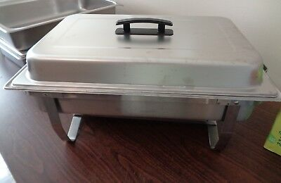 Full Size 8 Qt Stainless Steel Folding Chafer Set With Chafing Dish Frame Lid