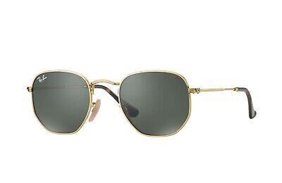 NEW RAY-BAN HEXAGONAL SUNGLASSES Gold Frame / Classic Green G-15 Lenses RB3548