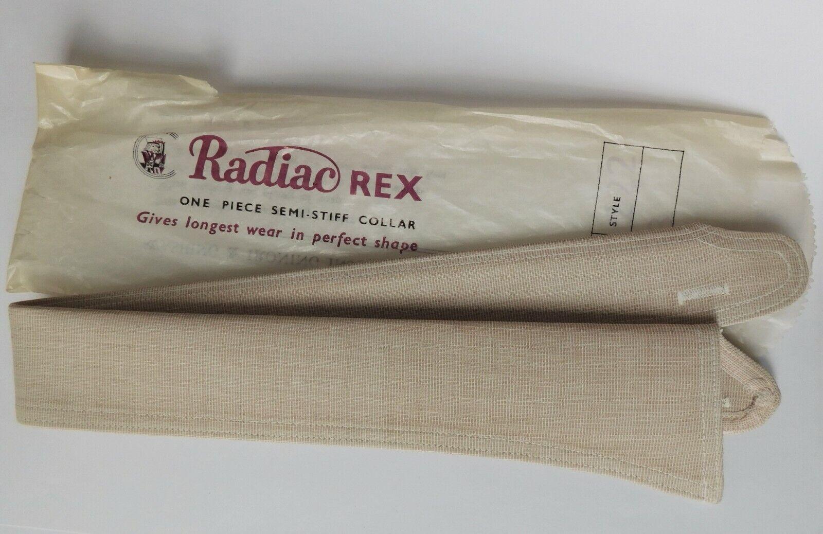 Radiac Rex shirt collar size 18 beige buff semi-stiff UNUSED vintage detachable