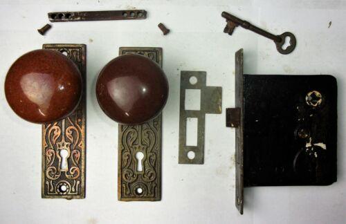 Antique Set EASTLAKE Backplates Brown Porcelain Door Knobs Mortise Lock w/ Key