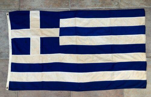 VINTAGE GREECE GREEK FLAG 76 cms height x 128 cms by ΗΛΙΑΣ ΚΟΚΚΩΝΗΣ ΑΘΗΝΑΙ 1960s