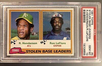 1981 Topps Stolen Base Leaders #4 Rickey Henderson PSA 10 GEM MINT !! Certified