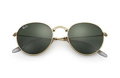 NEW RAY-BAN ROUND SUNGLASSES Gold Frame / Classic Green G-15 Lenses (Ray Ban For Women)