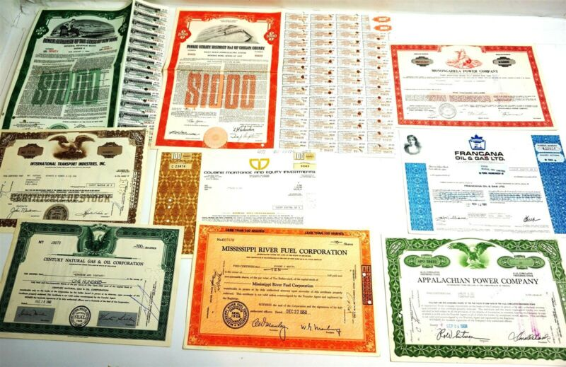 9 Collectible Vintage Oil, Gas, Utility Stock Certificates back to 1950 defunk