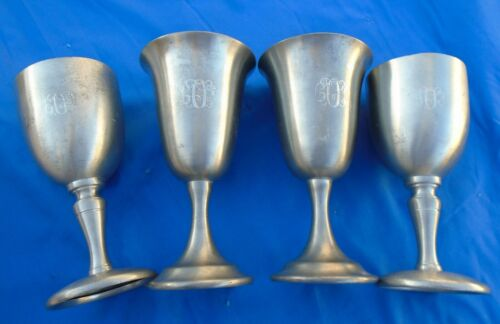 Wine Goblets Pewter Leonard Eastern  Set Of 4 Vintage
