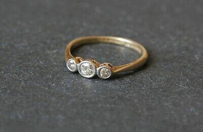 Vintage 18ct Yellow Gold & Platinum Diamond Three Stone Trilogy Ring 18k