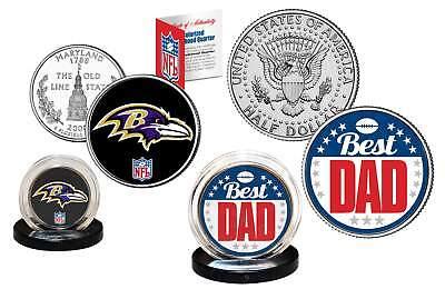 Best Dad - BALTIMORE RAVENS 2-Coin US Set Quarter & JFK Half Dollar NFL (Baltimore Ravens Coin Set)