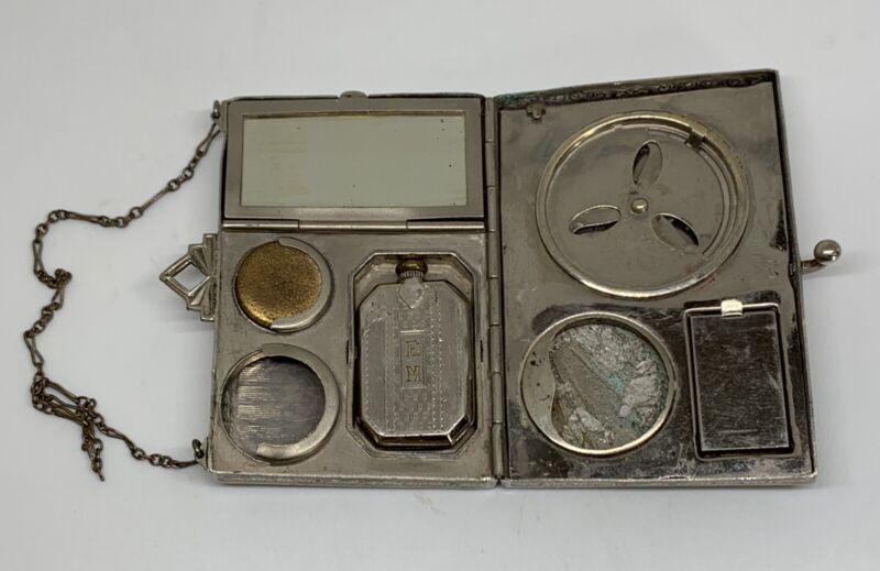 Antique Art Deco Silver Metal Compact Purse