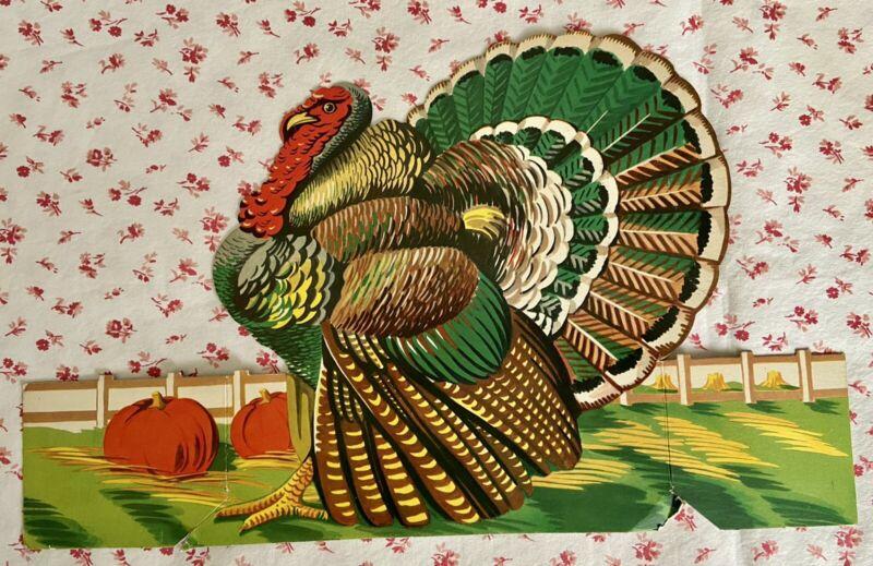 Vintage Mid Century Stand-Up Die-Cut Thanksgiving Turkey Ephemera Decoration
