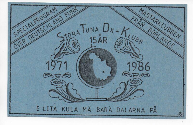 QSL Radio Deutschlandfunk Germany Special card 1986 Stora Tuna DX Club Sweden