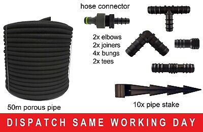 50M - POROUS PIPE, SOAKER HOSE, LEAKY PIPE + FREE CONNECTORS & PIPE STAKES