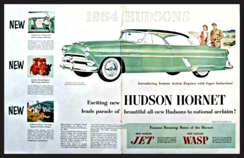 1954 HUDSON HORNET Hollywood Hardtop Green w/Black Roof 2-page AD Spread