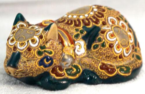 "Vintage Kutani Japanese Porcelain / Ceramic Sleeping Cat Figurine w Moriage 4"""