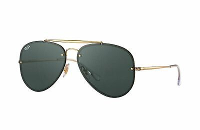 Ray Ban Blaze Aviator RB3584N 905071 61 Gold Metal Aviator Sunglasses Green Lens