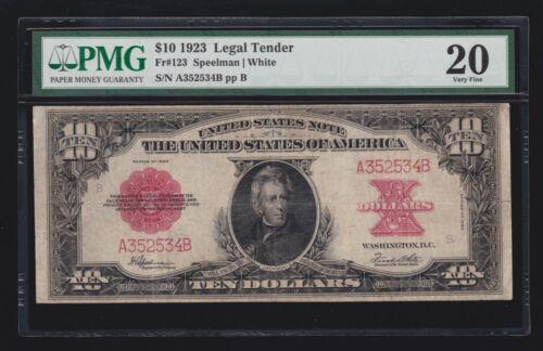 """US 1923 $10 """"Poker Chip"""" Legal Tender FR 123 PMG 20 (534)"""