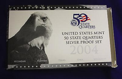 2004 U.S. Mint SILVER 50 State Quarter Proof Set. In original GRAY box.
