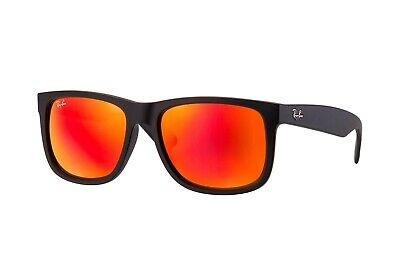 RAY BAN Justin 4165 622/6Q  Black Frame Orange/Red Mirror Lens 54MM (Ray Ban Justin Polarized Lenses)