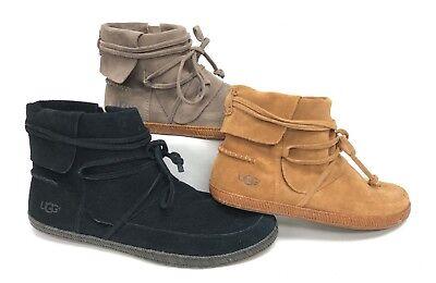 - UGG Australia Reid Slate Chestnut Black Ankle Boot 1019129 Suede Bootie zipper