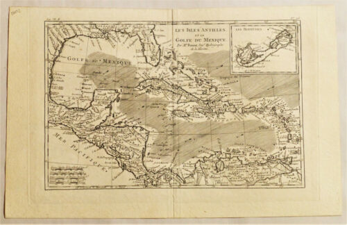 1782 Genuine Antique map West Indies, Gulf of Mexico, Lesser Antilles. R. Bonne