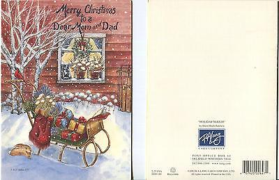 1 CHRISTMAS BLACK GRAY CAT BUNNY RABBIT SLED BIRCH SNOW PARENTS GREETING CARD
