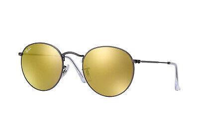 Ray Ban Runde Sonnenbrille Metall RB 3447 029/93 Matt Gunmetal W / Gold Spiegel