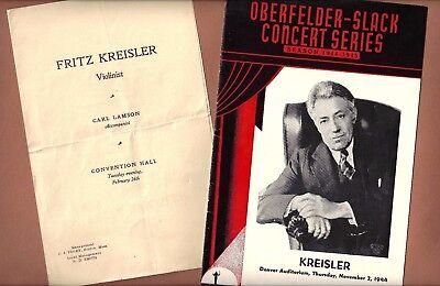 Violinist FRITZ KREISLER 1924 Kansas City / 1944 Denver Concert Recital Programs