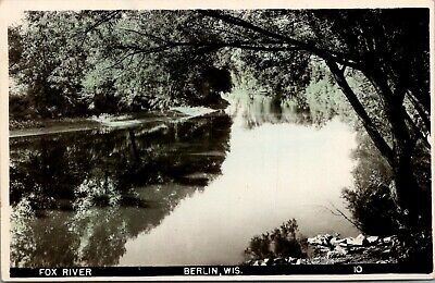 Berlin Wisconsin~Trees Reflect in Fox River~1940s Colorized Real Photo~RPPC