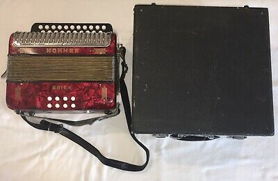 Hohner Diatonic 2 Row Button Accordion Erica Red Musical Instrument WORKS GREAT!