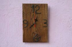 Reclaimed wood clock,Natural oak