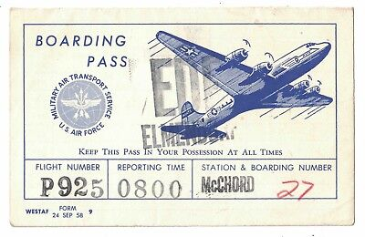 Miliary Air Transport Services Boarding Pass Mcchord Afb Elmendorf Afb 1958