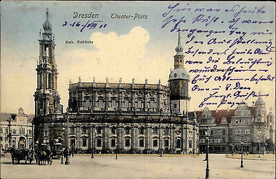 Dresden Sachsen 1911 Theater Platz Katholische Hofkirche Kirche Verlag Hartmann