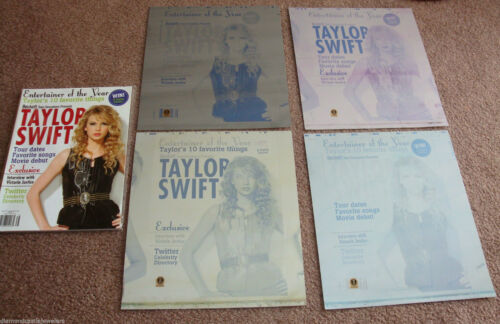 TAYLOR SWIFT 4 Piece Authentic Beckett Printing Plate Set and 2010 MAGAZINE BOOK