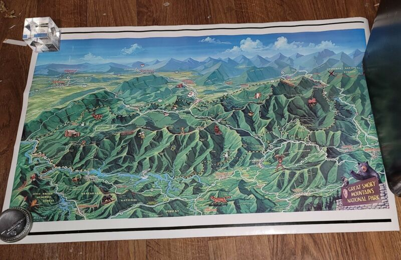 "Vtg Great Smoky Mountain Rare 34"" Color National Park Visitor 70"