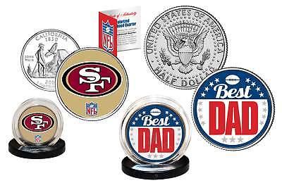 Best Dad SAN FRANCISCO 49ERS 2-Coin Set Quarter & JFK Half Dollar NFL LICENSED ()