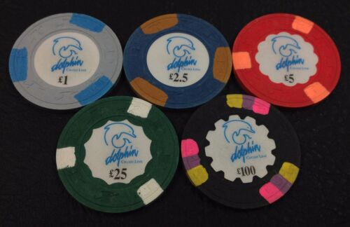 Set of 5 Dolphin Cruise Line £1-£2.50-£5-£25-£100 Casino Chips H&C Paulson Mold