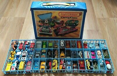 Vintage Matchbox and Hot Wheels, Majorette Cars lot of 48 With Carrying Case
