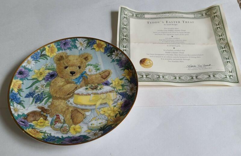FRANKLIN MINT HEIRLOOM RECOMMENDATION TEDDYS EASTER TREAT TEDDY BEAR PLATE