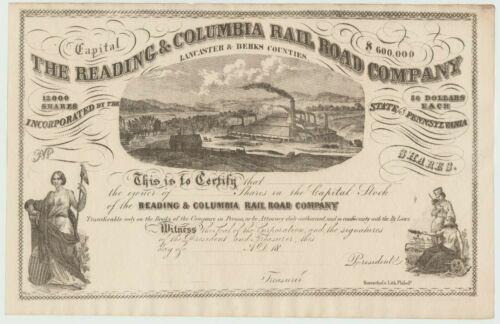 Reading & Columbia Railroad Stock Certificate