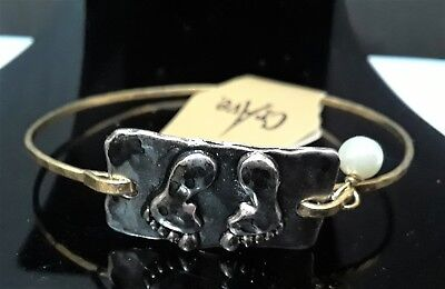 Gold Silver Baby Foot Footprint Bead Love Bangle Bracelet