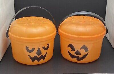 2 Vtg 1986 McDonalds Happy Meal McGoblin McPunk'n Halloween Pumpkin Buckets Lids