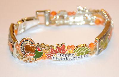 Thanksgiving Tile Bracelet / Magnetic Closure in Silver-tone / Turkey ~ Leaves