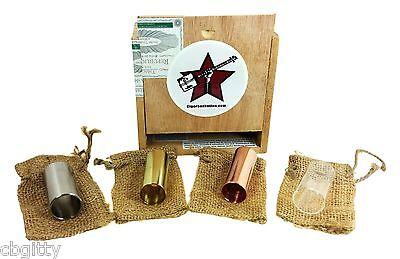 Cigar Box Guitar Slide Gift Set - 4 Special Slides Packaged in Wooden Cigar Box