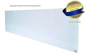 infrarotheizung glas rahmenlos wei 360 watt lang 124x34x2 5 cm ebay. Black Bedroom Furniture Sets. Home Design Ideas