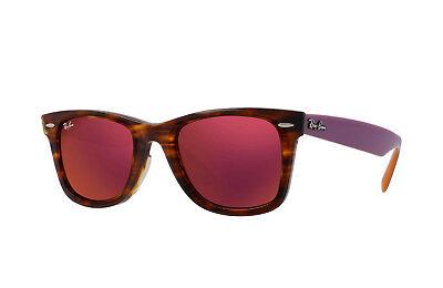 Ray Ban Sonnenbrille RB 2140 11772K 54-18 Wayfarer Tort Violett Orange W/ Rot