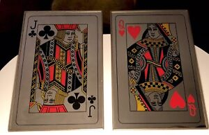 Vintage PLAYING CARDS MIRRORS Poker Bar Sign beer  SET OF 2