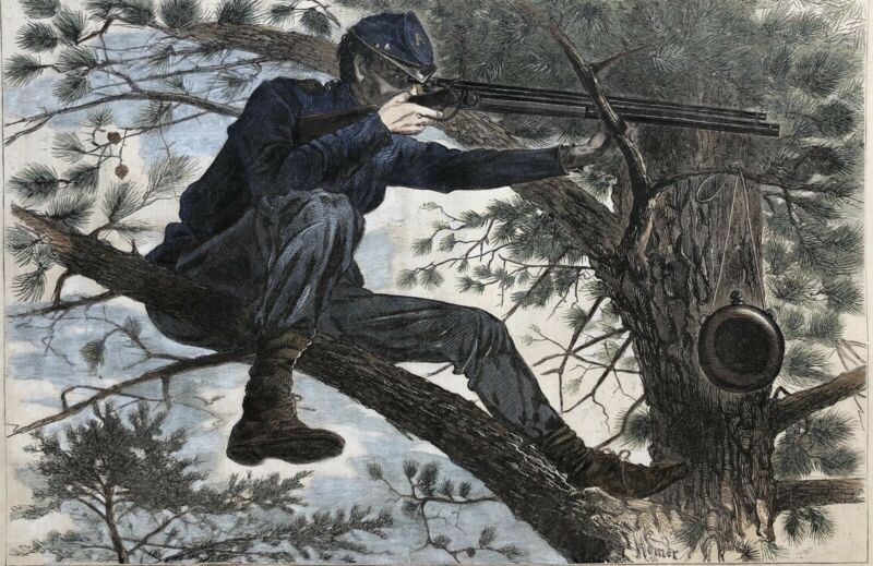 "HOMER'S ""SHARPSHOOTER"" HAND COLORED 1862 HARPER'S WEEKLY CIVIL WAR ENGRAVING"